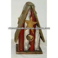 Original antique shabby wooden birds house with wooden star