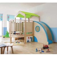 2020 Design Indoor Wooden Corner Playhouse Play Loft with Slide for Daycare Preschool Toddlers