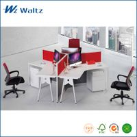 Waltz office furniture MFC/MDF panel office workstation, 3 person workstation