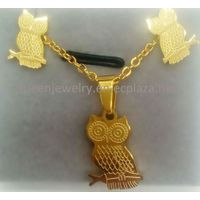 Necklace with name Micro Pave Small lovely Owl pendant earring stainless steel 18k gold plated