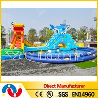 inflatable cartoon water play equipment with huge slide and pools thumbnail image
