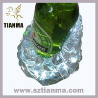 With LED Light Acrylic Resin Ice Block Wine Bottle Holder Bar Accessries Factory
