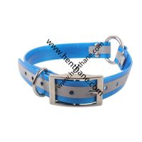 reflective fluo blue tpu dog collar with center O ring