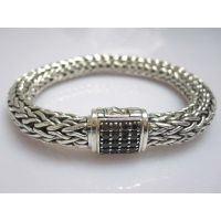 John Hardy Sterling Silver Bracelet with Black Diamonds(JHB-04)