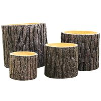 Factory sales light weight durable outdoor round concrete wood surface flower pot