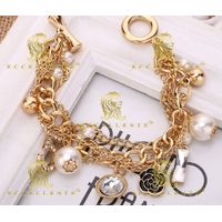 Multi Layer Pearl Bracelet Small Flower Euramerican Heavy Metal Chain Jewelry thumbnail image