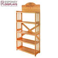 Floor Bamboo Pet Supplies Display Shelf