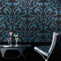 Damasco Opale JY-P-D08 Bisazza Black and Blue Pattern Glass Mosaic Living Room Wall Tile thumbnail image