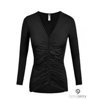 Ivy Top - Women's Long Sleeve round-neck Basic Tops worn under a blazer at work : Katie Perry