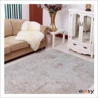 Hot sales handmade plain beige microfiber polyester shaggy rug
