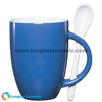 12oz Custom glossy color exterior ceramic coffee mug with spoon