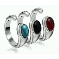 Stainless Steel Nepal Stone Mens Wedding Ring