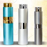 rotatable perfume bottle Twist and spray Refillable square Aluminum perfume bottle wholesale from C