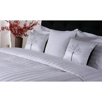 Eliya ISO9001 Luxury 5 Star Quality Stripe White 100 Cotton Linen Sheet Bedding Set Hotel Bed Sheets thumbnail image