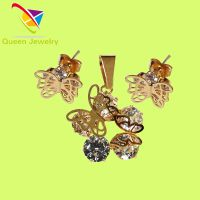 bee butterfly pendant earring wholesale party gift gold plated bright white zircon jewelry
