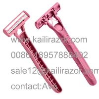 Twin blade pivoting head  disposable razor KL-X231L