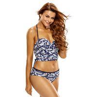 Joy-wear sexy 2pcs Lace Up Detail Printed Halter Tankini Swimsuit