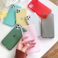 For iPhone 11 Case, Colorful Clear Matte Emulsion Slim Soft TPU Back Cover Latex Silicone Phone Case