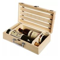 Handcraft Natural Pine Wood 2 Bottle Wooden Wine Gift Carrying Case Box For Wine FOB Refe