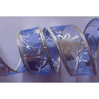blue organza with silver bells fabric, sonic pressing silver wire edge thumbnail image