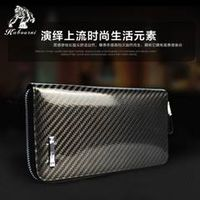 Kabourni high-quality palm clutch new style double zipper carbon fiber TPU man wallet