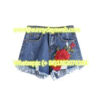 summer sexy appliques short jeans for ladies