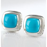 Sterling Silver 11mm Turquoise Albion Earrings for Women thumbnail image