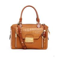 Luggage leather with crocodile-embossed front flap