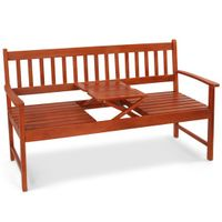 wooden garden bench with flexiable small table