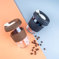 Office Use Glass Coffee Cup With Silicone Sleeve Personal Carry-On With Silicone Lid Glass Coffee Cu