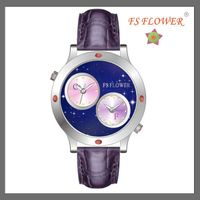 FS FLOWER -- SSX023-A DUAL TIME Night Sky Series Lady's Stainless Steel Watches