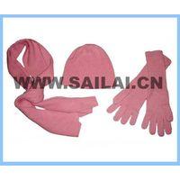 cashmere gloves hat and scarf set/cashmere three pcs set