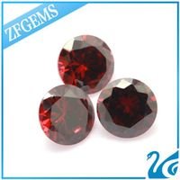 wuzhou 8mm round brilliant cut garnet cubic zirconia stone for jewelry making