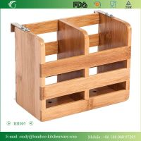 BH005 Bamboo Flatware Organizer and Holder with Metal Clips