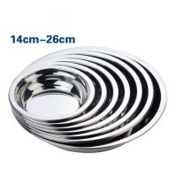 Multisize Stainless Steel Round Food Plates Kitchen Serving Plate