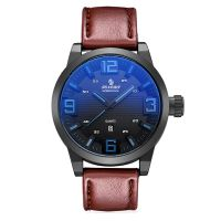 2017 Colorful glass hot sale waterproof genuine leather strap men watch oem