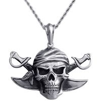 Stainless Steel Mens Pedant Necklace Personalized Vintage Accessories Pirates Captain's Taro Pendant
