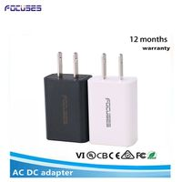 FOCUSES DC Output 5V 1A with smart IC Protection, Universal USB Wall Travel Charger-White + Black thumbnail image