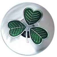 IRISH SHAMROCK PLAID BROOCH PRESENTED IN A PLASTIC SLEEVE