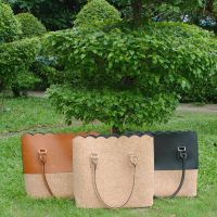 Monogram Scallop Tote Bag Brown & Cork Handbag