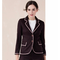 fashion women 2 piece suit with contrast piping lapel solid color