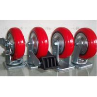 PU On Cast Iron Casters (Bright Red)-1