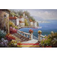 Canvas Oil painting 100%hand painter mediterranean thumbnail image