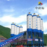Double HZS120 concrete batching plant and batch mixing plant manufacturers