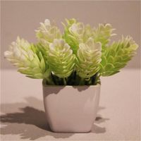 Mini Fake Plastic Potted Artificial Flower Bunch in White for Sale thumbnail image