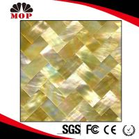 Polished Golden Sea Shell Tile Kitchen Yellow Lip Shell Mosaic Tile