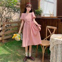 Summer dress small fresh 2020 retro plaid lace-up square neck short sleeve blouse fem