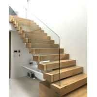Wooden Box Treads Floating Staircase With Glass Railing