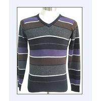 Men v ncek wool sweater with stripe thumbnail image