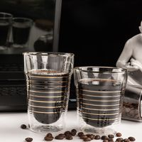 270ml Juice Wedding Glass family Big Coffee Cup Fruit Yogurt Cup Ribbed Cup Glass thumbnail image